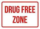 WENNUNA Señal de Seguridad para Puerta de Dormitorio, Zona Libre de Drogas sin Aparcamiento, señal de tráfico de Seguridad, Color Rojo, Metal Decorativo, protección contra Rayos UV, Placa Impermeable