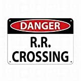 Danger R.R. Señal de Advertencia de tráfico Cruzado, de Metal, para decoración de la casa al Aire Libre, 20 x 30 cm
