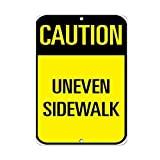 JOHUA Caution Ineven Sidewalk Señal de tráfico de metal Cartel de advertencia Vintage Placa de advertencia para garaje, hogar, cafetería, oficina, decoración de pared