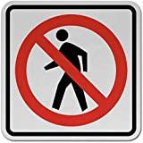 Señal de tráfico sin peatones, Letrero de Metal para la Propiedad privada, Placa de Seguridad contra peligros, señal de Puerta, 8 x 12 Pulgadas