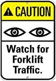 """Reloj de precaución para tráfico de carretilla. Señal de tráfico, letrero de metal con texto en inglés """"Private Property"""", placa de seguridad contra peligros, señal de puerta, 8 x 12 pulgadas"""