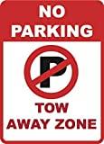 GIGIEU Señal de Advertencia de Zona de Remolque sin Aparcamiento – Señal de Advertencia de tráfico de Garaje – Aluminio Metal 6 Paquetes, 10 x 7 señal de Aluminio