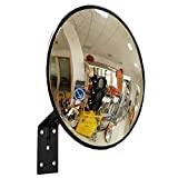 Convexo espejo tráfico, irrompible, de diámetro 30 cm, para la seguridad vial y la seguridad tienda, con soporte de pared ajustable