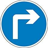 BCTS Road Traffic Turn Right Ahead Señal de seguridad divertida de metal para cruzar el tráfico, señal cuadrada de 30 x 30 cm