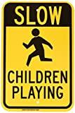 Lento niños jugando señal de aluminio 18x 12Metal Signs Vintage señales de tráfico placas de lata Signs placa decorativa negro sobre amarillo