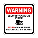 BCTS Señal de advertencia de seguridad para cámaras en uso Aviso Camaras Divertida señal de metal Cruzando Tráfico Novedad Cuadrado 30,4 x 30,5 cm