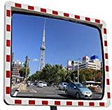 Espejo de tráfico con reflectores, espejo de observación, espejo de seguridad, espejo convexo, 60 x 80 cm, visión superior con junta, resistente a la intemperie, entrada, garaje